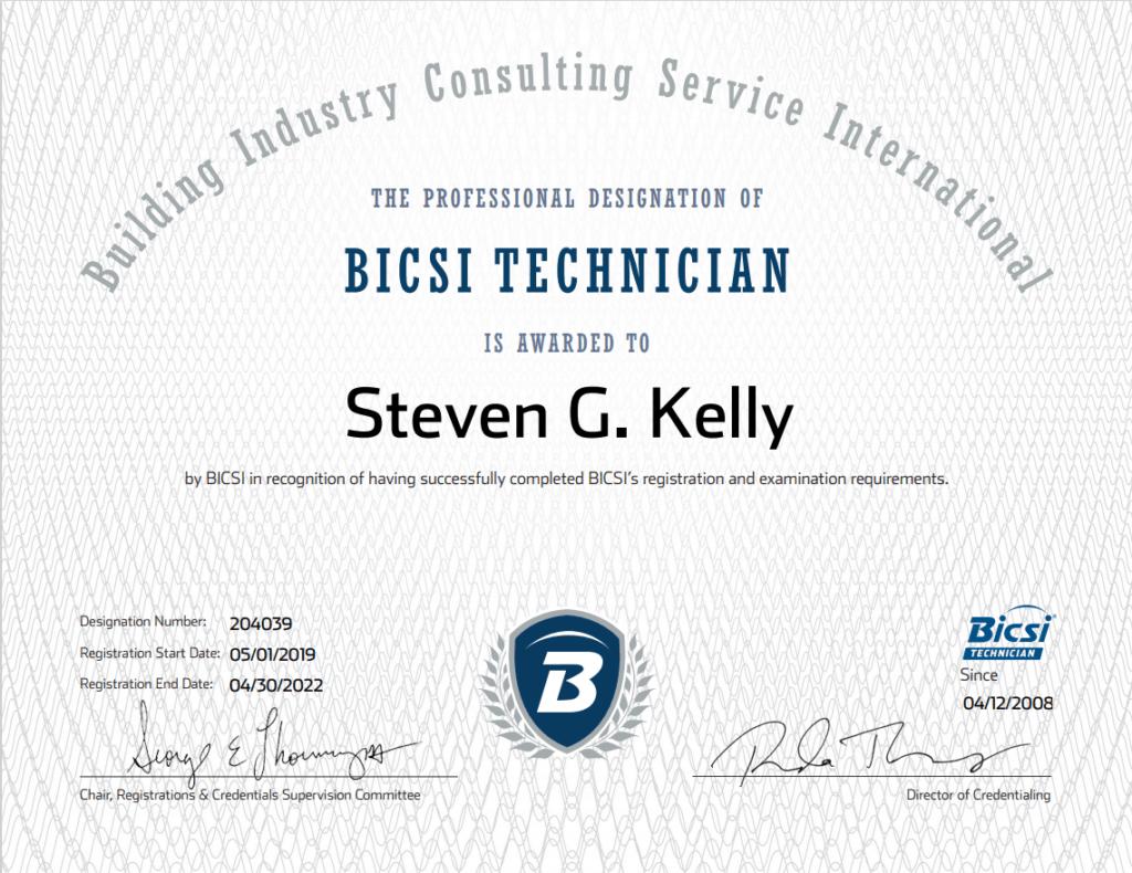 bicsi tech certification steven kelly